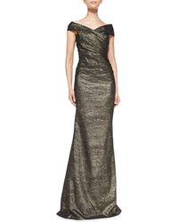 Rickie Freeman for Teri Jon Off-the-shoulder Metallic Gown - Lyst