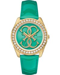 Guess Womens Green Patent Leather Strap Watch 41mm - Lyst