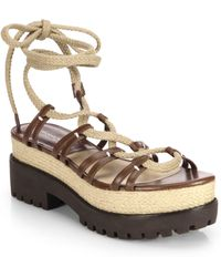 Michael Kors Kellan Lace-Up Leather & Jute Sandals - Lyst