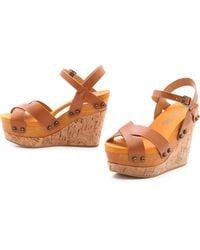 Flogg Lexi Cork Wedge Sandals - Lyst
