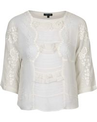 Topshop | Cutwork Embroidered Frill Top | Lyst