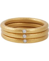 Linda Lee Johnson Diamond  Gold Ring Trio - Lyst