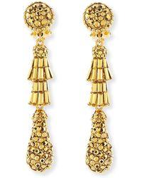 Jose & Maria Barrera | Golden Tiered Baguette Teardrop Earrings | Lyst