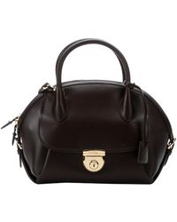 Ferragamo Brown Leather 'Fiamma' Top Handle Convertible Bowler Bag - Lyst