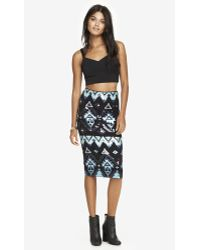 Express - Aztec Sequin Embellished Midi Skirt - Turquoise - Lyst