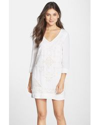 French Connection 'Camber Sands' Eyelet Shift Dress - Lyst