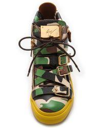 Giuseppe Zanotti - 'Farwest' Camo Print Multi Buckle Leather Trainers - Lyst