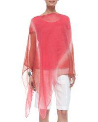 Eileen Fisher Halo Shibori Linen Poncho - Lyst