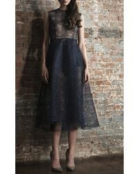 Katie Ermilio - Lace High-to-low Pleat Party Dress - Lyst