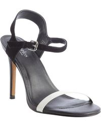Charles By Charles David Black and White Suede Reverse Heel Sandals - Lyst