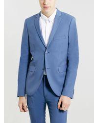 Topman Light Blue Ultra Skinny Jacket - Lyst