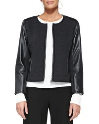 Eileen Fisher Leathertrim Merino Short Zip Jacket - Lyst