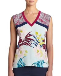 Etro Intarsia Contrast Knit Shell - Lyst