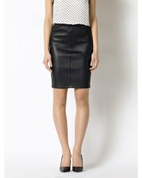 Patrizia Pepe Slim Fit Pencil Skirt With High Waist In Stretch Nappa Leather - Lyst