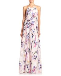 Phoebe Pleated Floral Gown - Lyst