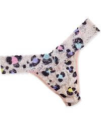 Hanky Panky Original-Rise Inky Leopard-Print Lace Thong - Lyst