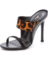 Schutz Odelia Haircalf Mules Blacknatural - Lyst