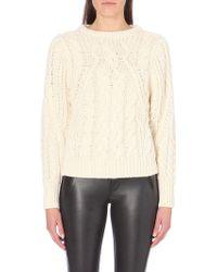 Maje Alpaca-wool Cable-knit Jumper - Lyst