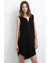 Velvet By Graham & Spencer Eliah Challis Collarless Shirt Dress black - Lyst