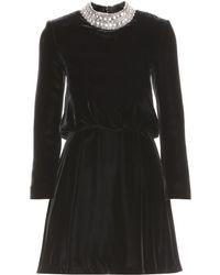 Saint Laurent Velvet Dress with Embellished Collar - Lyst