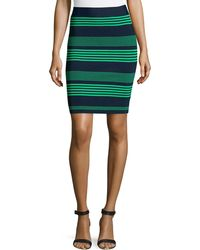 Halston Heritage Striped Sweater Knit Pencil Skirt - Lyst
