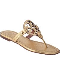 Tory Burch Miller Thong Sandal Gold Leather - Lyst