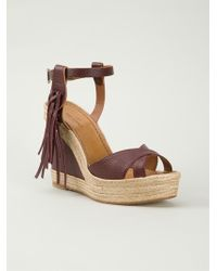 Valentino Fringed Wedge Sandals - Lyst
