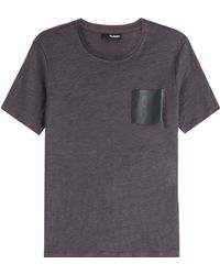 The Kooples Linen T-Shirt With Leather Pocket - Lyst