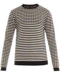 Marc By Marc Jacobs - Zigzag And Striped Wool Sweater - Lyst