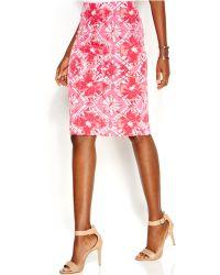 Inc International Concepts Petite Printed Knee-Length Pencil Skirt - Lyst