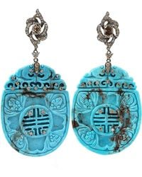 Bochic - Turquoise and Diamond Drop Earrings - Lyst