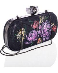 Marchesa Lily Floral-Print Lizard Clutch Bag - Lyst