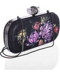 Marchesa Lily Floral-Print Lizard Clutch Bag floral - Lyst