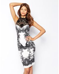 Lipsy High Neck Glitter Lace Bodyconscious Dress - Lyst