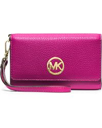 MICHAEL Michael Kors Fulton Large Multifunction Smart Phone Wristlet Wallet - Lyst