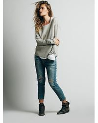 Free People Distressed Patched Boyfriend - Lyst