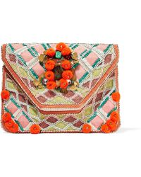 Antik Batik - Margot Embellished Cotton-canvas Clutch - Lyst