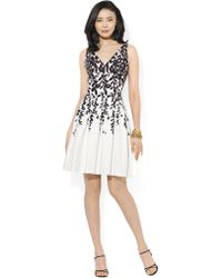 Lauren by Ralph Lauren Floral V-Neck Dress - Lyst
