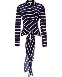 Preen Printed Silk Cdc Tavo Shirt in Navy Breton - Lyst