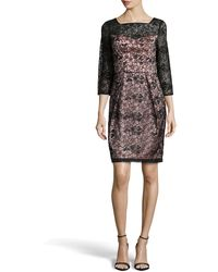 Sue Wong Lace 34-sleeve Sheath Dress - Lyst