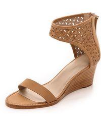 Zimmermann Lattice Wedge Sandals - Nude - Lyst