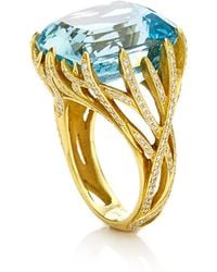Nicholas Varney - Aquamarine And Diamond Vine Ring - Lyst