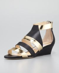 Jimmy Choo Brook Lowwedge Mattemetallic Sandal - Lyst