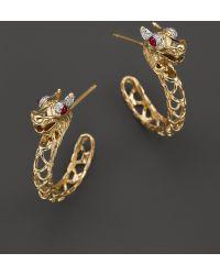 John Hardy Batu Naga 18k Yellow Gold Diamond Pave Dragon Medium Hoop Earrings with African Ruby Eyes - Lyst