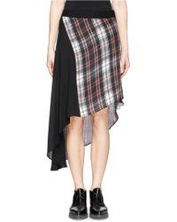 McQ by Alexander McQueen Tartan Panel Asymmetric Silk Skirt - Lyst