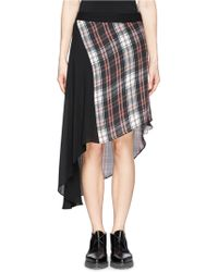 McQ by Alexander McQueen Tartan Panel Asymmetric Silk Skirt multicolor - Lyst