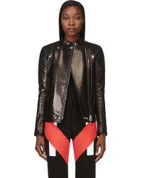 Givenchy Black Leather Ribbed Biker Jacket - Lyst