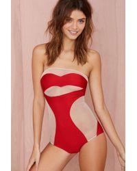 Nasty Gal Adriana Degreas Lips Strapless Swimsuit - Lyst