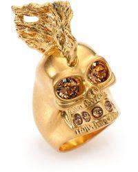 Alexander McQueen Skull Punk Fish Ring gold - Lyst