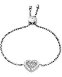 Michael Kors Gold-Tone Crystal Heart Slider Bracelet - Lyst
